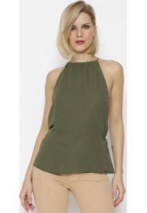 Blusa Com Vazado & Recorte - Verde Militarcalvin Klein