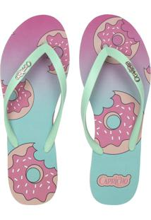 Chinelo Capricho Donuts Verde/Rosa