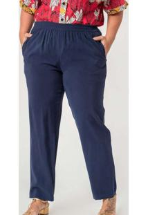 Calça Reta Almaria Plus Size Munny Bolso Faca Azul