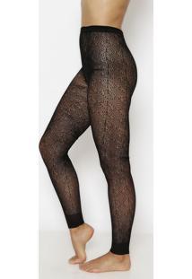 Meia Calça Legging Em Renda- Preta- Fio 40Trifil