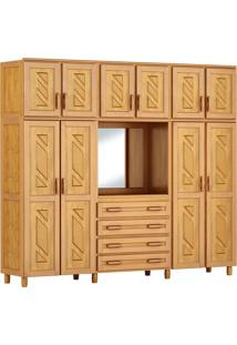 Guarda-Roupa Grécia Capelinha Casal Mel Com Espelho 10 Portas Madeira Maciça De Pinus Cavazotto