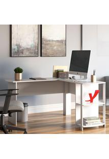Mesa Para Computador Com 2 Prateleiras Luma – Artany - Branco