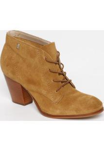 Ankle Boot Em Couro Com Tag- Marrom Claro- Salto: 7Cloucos E Santos