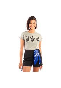 Camiseta Feminina Mirat Peace Love Rock Mescla