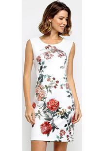 Vestido Pérola Tubinho Curto Floral - Feminino-Branco