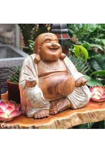 Escultura Happy Buddha 40Cm   Pátina
