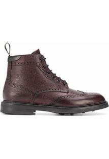 Canali Ankle Boot Com Cadarço - Vermelho