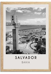 Quadro Oppen House 65X45Cm Cidades Salvador Brasil Moldura Natural Com Vidro - Oppen House Decora