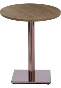 Mesa Colorado 60 Cm Tampo Redondo Imbuia Base Bronze - 37276 Sun House