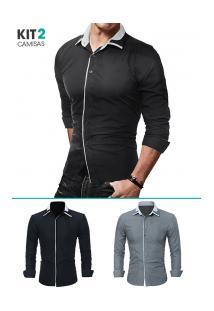 Kit 2 Camisas Masculinas Slim Fit Manga Longa - Cinza E Preto