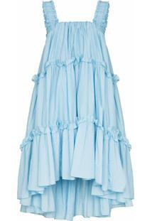 Brøgger Vestido Adalee Decote Quadrado Com Amarração - Azul