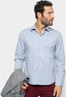 Camisa Manga Longa Ellus Tricoline Slim Masculina - Masculino-Azul