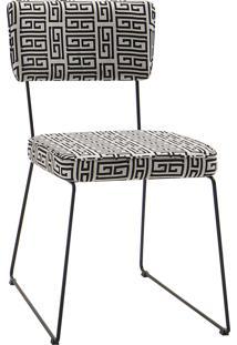 Cadeira Roma Aço Tecido Daf Preto/Branco