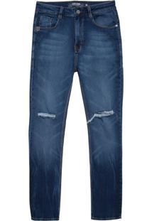 Calça John John Rock Brooks Moletom Jeans Azul Masculina (Jeans Escuro, 36)