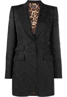 Dolce & Gabbana Blazer Com Brocado Floral - Preto