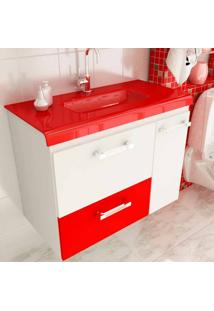 Gabinete Vetro 80 Cm 2 Portas 1 Gaveta Branco & Vermelho