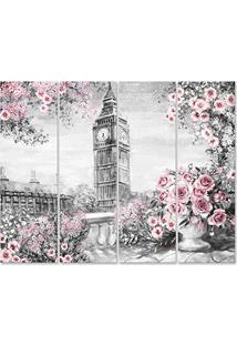 Placa Painel Decorativa Em Mdf Foto Londres Flores Kit 4 Placas