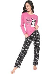 Pijama Malwee Liberta Panda Rosa/Preto