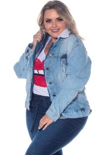 Jaqueta Jeans Destmoda Plus Size Azul Claro