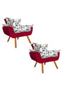 Kit 02 Poltrona Decorativa Opala Composê Estampado Floral D68 E Veludo Vermelho - D'Rossi