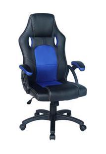 Cadeira Gamer C Giratória Com Travamento De Inclinação Preta E Azul - Mw