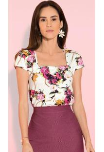 Blusa Floral Com Franzido No Decote
