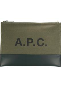 A.P.C. Clutch Com Estampa De Logo - Verde