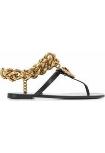 Dolce & Gabbana Sandália Flat Com Detalhe De Corrente - Preto