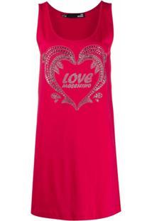 Love Moschino Vestido Com Aplicação De Tachas - Rosa