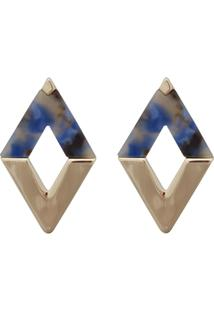 Brinco Le Briju Metal E Acrílico Losango Dourado Bordy Azul