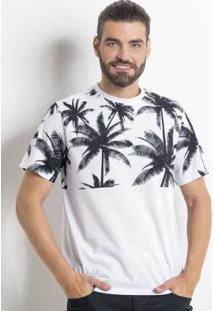 Camiseta Branca Com Estampa De Coqueiro