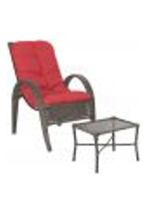 Jogo Cadeira 1Un E Mesa P/ Jardim Edicula Varanda Descanso Trama Napoli Plus Pedra Ferro A16
