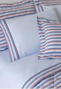 Fronha Avulsa 200 Fios Michel Azul Com Barrado - Scavone