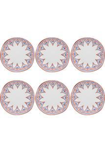 Conjunto Pratos Fundos Oxford Barcelos Ryo 6 Peças Porcelana 22.5Cm