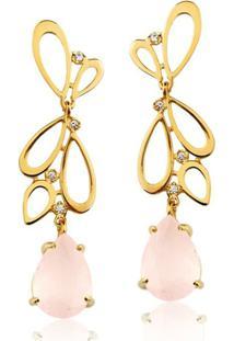 Brinco Toque De Joia Borboleta Em Gotas Quartzo Rosa - Feminino-Dourado