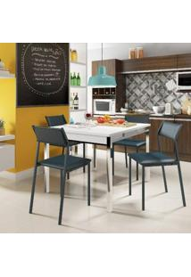 Conjunto De Mesa Carraro 1541 + 4 Cadeiras 1709 - Branco Cromado / Azul Noturno