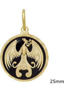 Pingente Medalha Fênix Com Resina - Unissex-Dourado