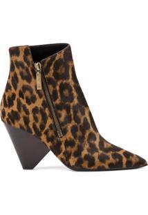 Saint Laurent Ankle Boot De Couro Com Estampa Leopardo - Marrom