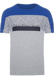 Camiseta Masculina Manga Curta Recortes - Cinza E Azul
