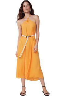 Amaro Feminino Saida De Praia Vestido Midi Frente Unica, Amarelo