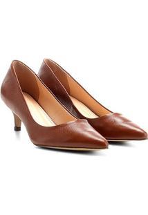 Scarpin Couro Shoestock Salto Baixo - Feminino-Marrom