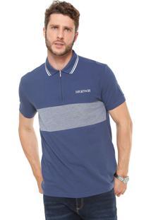 Camisa Polo Mr Kitsch Reta Zíper Azul