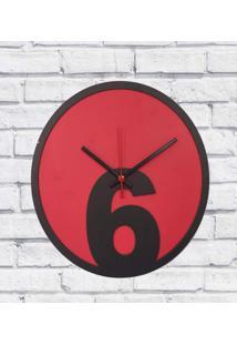 Relógio Parede Sala Madeira Básico 6 Cor Vermelho 30X30X2Cm