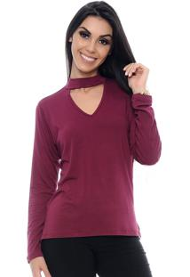 Blusa Chocer B'Bonnie Decote V Aurora Bordô