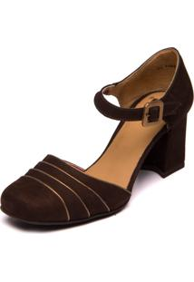 Sapato Mzq Em Couro Marrom Café Metalizado Bronze 5986
