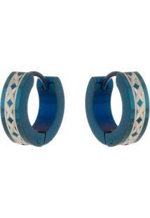 Brinco Argola De Aço Inox Tudo Joias Modelo Trançado Azul - Unissex-Azul