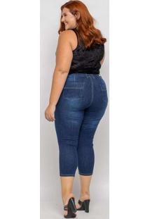 Calça Capri Almaria Plus Size Shyros Jeans Azul