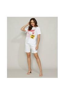 "T-Shirt Feminina Mindset Good"" Manga Curta Decote Redondo Branca"""