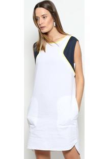 Vestido Com Recortes & Linho- Branco & Azul Marinho-Lacoste