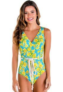 Maiô Tradicional Floral Com Cordão- Azul & Amarelo- Use Flee